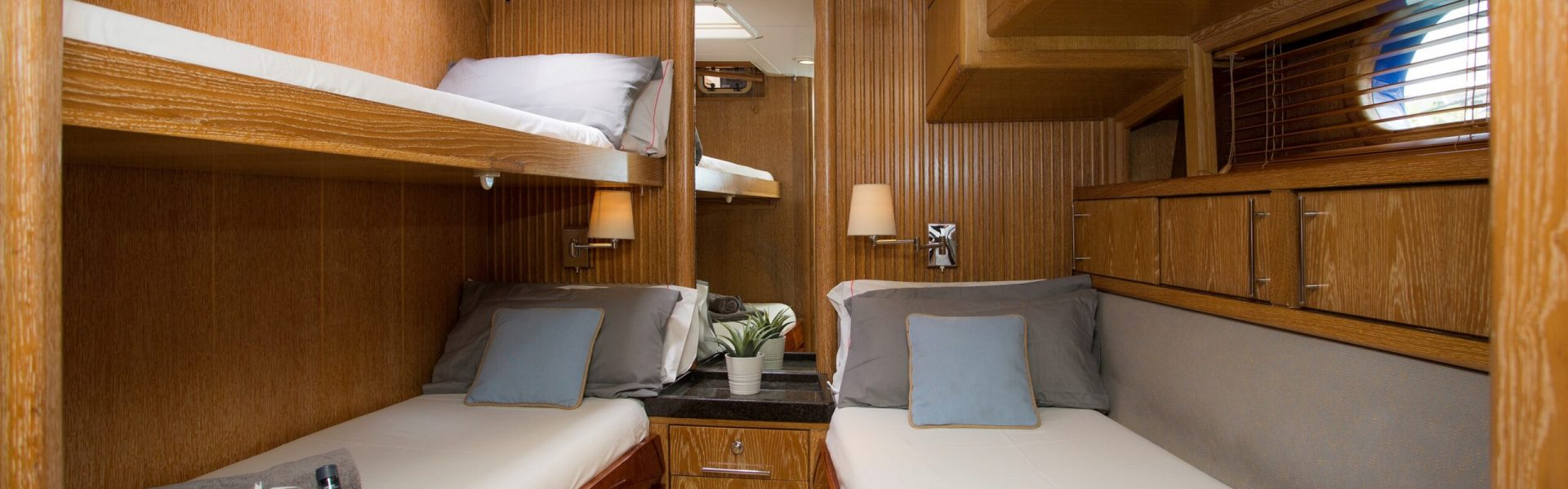 twin guest cabin with bunk bed down